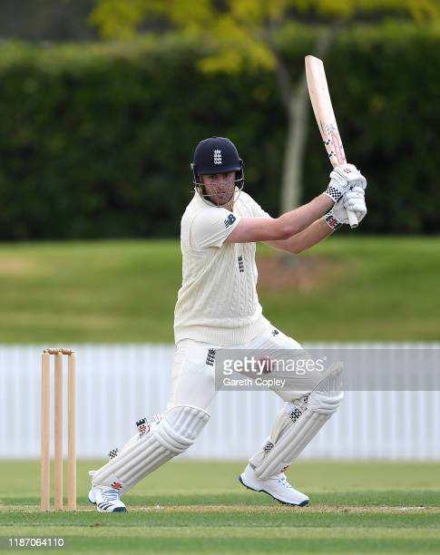 Dom Sibley of England bats during the tour match between New Zealand XI and England at Cobham Oval on November 12 2019 in Whangarei New Zealand