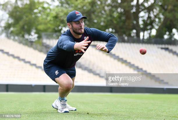 Dom Sibley of England catches during a nets session at Seddon Park on November 27 2019 in Hamilton New Zealand
