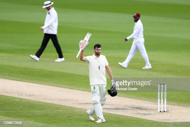 Dom Sibley of England celebrates after reaching his century during Day Two of the 2nd Test Match in the #RaiseTheBat Series between England and The...