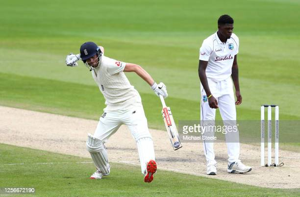 Dom Sibley of England celebrates reaching his century during Day Two of the 2nd Test Match in the #RaiseTheBat Series between England and The West...
