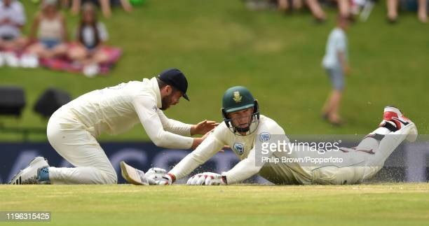 Dom Sibley of England fails to run out Rassie van der Dussen during Day Three of the First Test match between England and South Africa at SuperSport...
