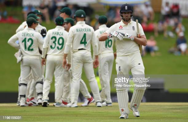 Dom Sibley of England leaves the field after being dismissed during Day Two of the First Test match between England and South Africa at SuperSport...