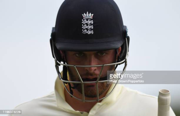 Dom Sibley of England leaves the field after being dismissed during Day Three of the First Test match between South Africa and England at SuperSport...