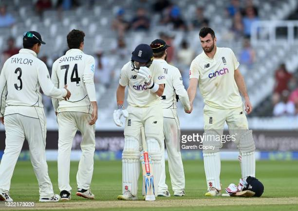 Dom Sibley of England shakes hands with Kane Williamson of New Zealand after Day 5 of the First LV= Insurance Test Match between England and New...
