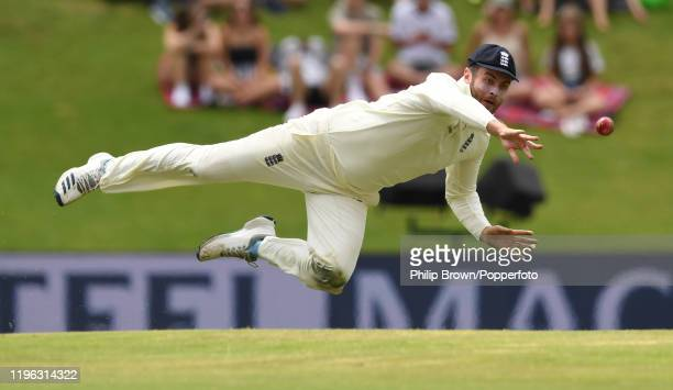 Dom Sibley of England throws at the stumps during Day Three of the First Test match between England and South Africa at SuperSport Park on December...