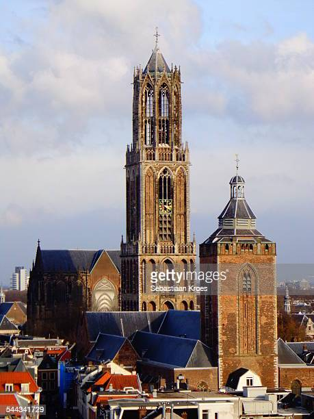 dom tower of utrecht, sun, utrecht, netherlands - utrecht stock-fotos und bilder