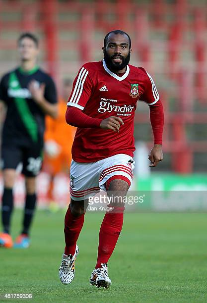 Dom Vose of Wrexham during the pre season friendly match between Wrexham and Stoke City at Racecourse Ground on July 22 2015 in Wrexham Wales