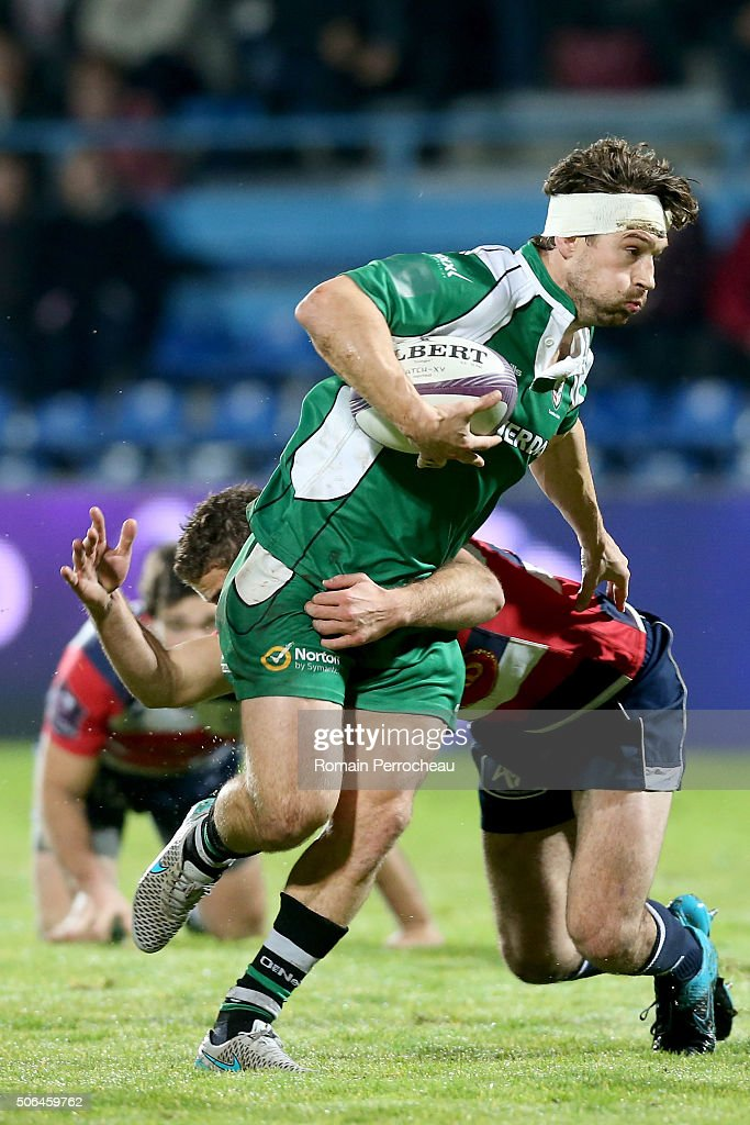 Dom Waldouck for London Irish in action during the European Rugby Challenge Cup match between Agen and London rish at stade Armandie on January 23, 2016 in Agen, France.