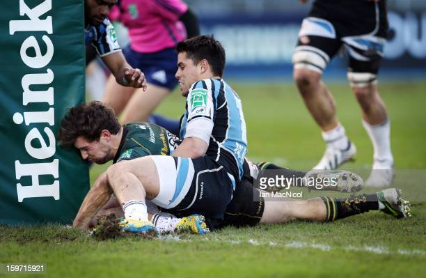 Dom Waldouck of Northampton scores a try during the Glasgow Warriors and Northampton Saints Heineken Cup Pool Four match at Scotstoun Stadium on...
