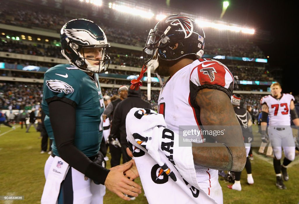 Dom Williams #7 of the Philadelphia Eagles shakes hands with Julio Jones #11 of the Atlanta Falcons after the NFC Divisional Playoff game at Lincoln Financial Field on January 13, 2018 in Philadelphia, Pennsylvania. The Philadelphia Eagles defeated the Atlanta Falcons with a score of 15 to 10.