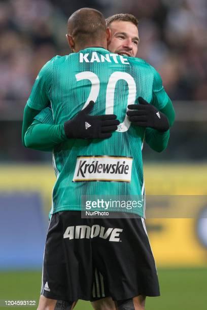 Domagoj Antolic Jose Kante during the match between Legia Warsaw v Cracovia for the PKO Ekstraklasa in Warsaw Poland on February 29 2020