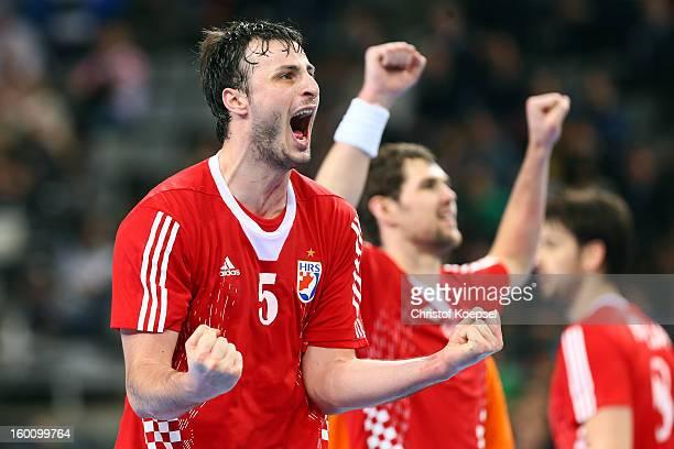 Domagoj Duvnjak and Jakov Gojun of Croatia celebrate after the Men's Handball World Championship 2013 third place match between Slovenia and Croatia...
