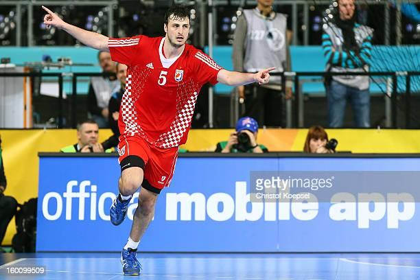 Domagoj Duvnjak of Croatia celebrates a goal during the Men's Handball World Championship 2013 third place match between Slovenia and Croatia at...