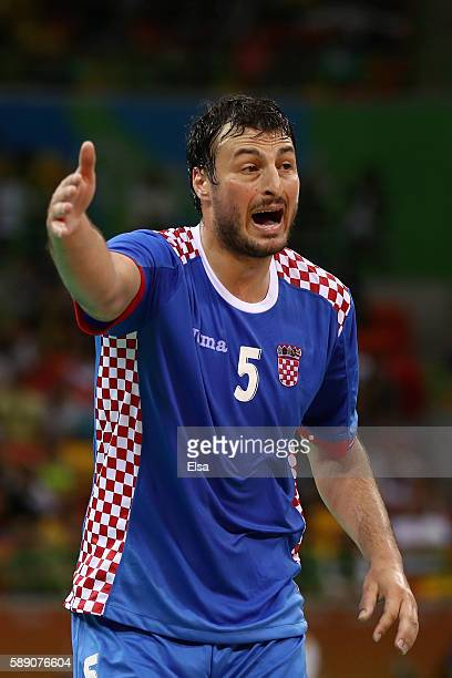 Domagoj Duvnjak of Croatia reacts during the Men's Handball preliminary Group A match between Croatia and France on Day 8 of the Rio 2016 Olympic...