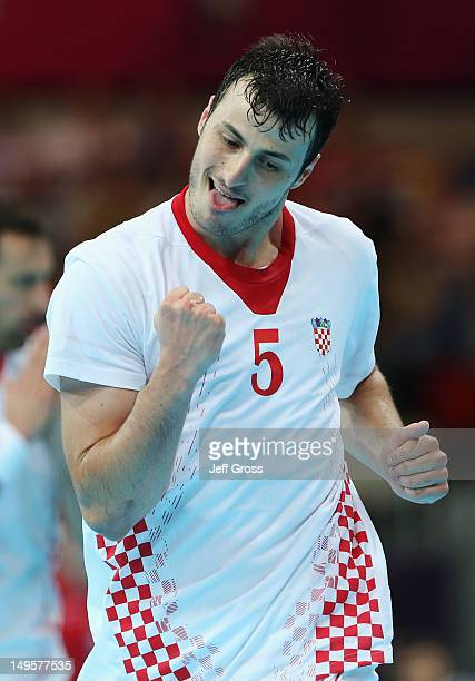 Domagoj Duvnjak of Croatia reacts during the Men's Handball Preliminary match between Serbia and Croatia on Day 4 of the London 2012 Olympic Games at...