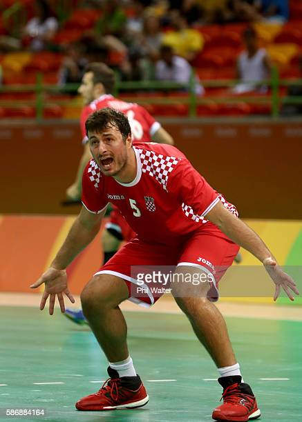 Domagoj Duvnjak of Croatia reacts during the Men's Preliminary Group A match between Croatia and Qatar on Day 2 of the Rio 2016 Olympic G