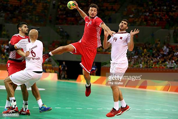 Domagoj Duvnjak of Croatia shoots at goal during the Men's Preliminary Group A match between Croatia and Qatar on Day 2 of the Rio 2016 Olympic G