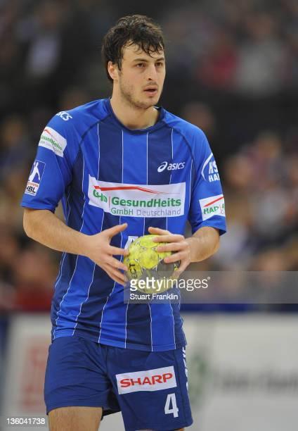 Domagoj Duvnjak of Hamburg in action during the Toyota Handball Bundesliga match between HSV Hamburg and HSG Wetzlar at the O2 World on December 17...