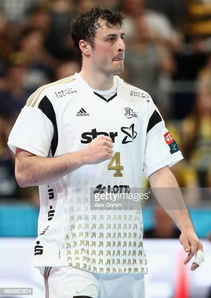 Domagoj Duvnjak of Kiel reacts during the EHF Champions League Quarter Final Leg 2 match between Rhein Neckar Loewen and THW Kiel at SAP Arena on...