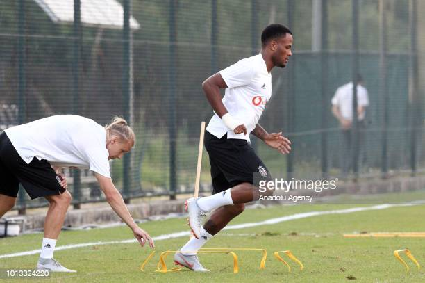 Domagoj Vida and Cyle Larin of Besiktas attend a training session ahead of the UEFA Europa League 3rd Qualifying Round first leg match between...