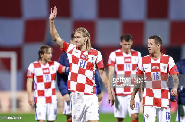 Domagoj Vida and Domagoj Bradaric of Croatia after the UEFA Nations League Group A3 stage match between Croatia and France at Maksimir Stadium on...