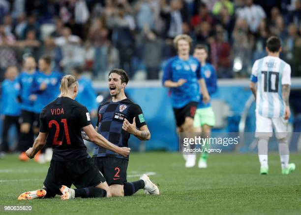 Domagoj Vida and Sime Vrsaljko of Croatia celebrate after winning the 2018 FIFA World Cup Russia Group D match against Argentina at Nizhny Novgorod...