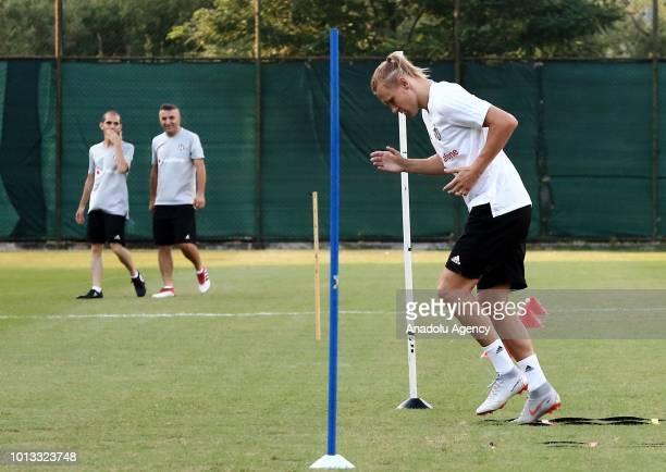 Domagoj Vida of Besiktas attenda a training session ahead of the UEFA Europa League 3rd Qualifying Round first leg match between Besiktas and LASK...