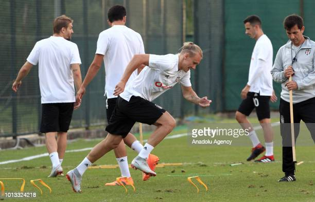 Domagoj Vida of Besiktas attends a training session ahead of the UEFA Europa League 3rd Qualifying Round first leg match between Besiktas and LASK...