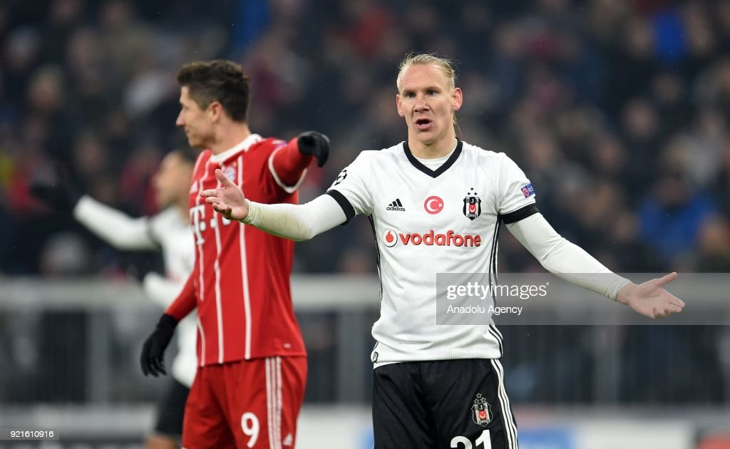 Domagoj Vida of Besiktas gestures during the UEFA Champions League Round of 16 soccer match between FC Bayern Munich and Besiktas at the Allianz Arena in Munich, Germany, on February 20, 2018.