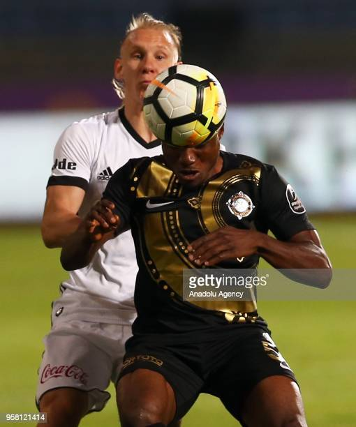 Domagoj Vida of Besiktas in action against Aminu Umar of Osmanlispor during Turkish Super Lig match between Osmanlispor and Besiktas at Yenikent...