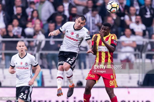 Domagoj Vida of Besiktas JK Gary Alexis Medel Soto of Besiktas JK Abdoulaye Sadio Diallo of Evkur Yeni Malatyaspor during the Turkish Spor Toto Super...