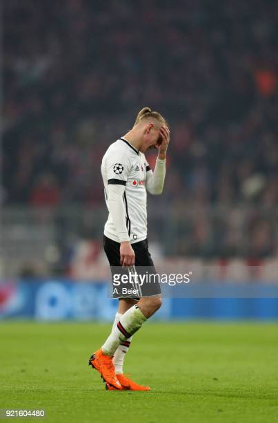 Domagoj Vida of Besiktas leaves the pitch after he received a red card during the UEFA Champions League Round of 16 first leg match between Bayern...