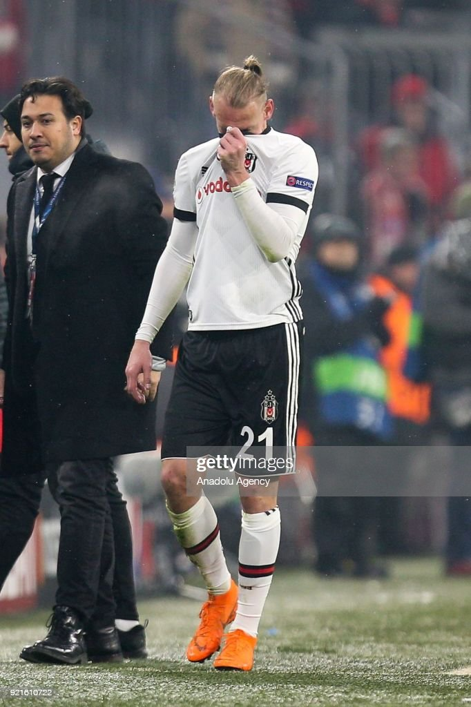 Domagoj Vida (21) of Besiktas reacts after shown red card as he leaves the pitch during the UEFA Champions League Round 16 soccer match between FC Bayern Munich and Besiktas at the Allianz Arena in Munich, Germany, on February 20, 2018.
