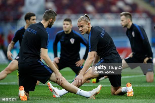 Domagoj Vida of Croatia attends a training session ahead of the 2018 FIFA World Cup Russia semi final match between Croatia and England at the...