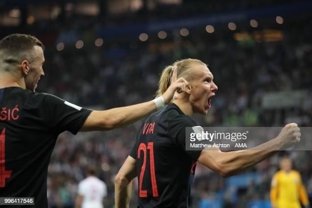 Domagoj Vida of Croatia celebrates after Ivan Perisic of Croatia scores a goal to make it 1-1 during the 2018 FIFA World Cup Russia Semi Final match...