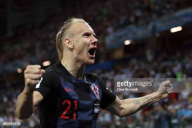 Domagoj Vida of Croatia celebrates after Ivan Rakitic of Croatia scores their sides third goal during the 2018 FIFA World Cup Russia group D match...