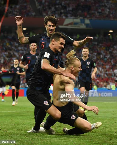 Domagoj Vida of Croatia celebrates after scoring his team's 2nd goal in extra time during the 2018 FIFA World Cup Russia Quarter Final match between...