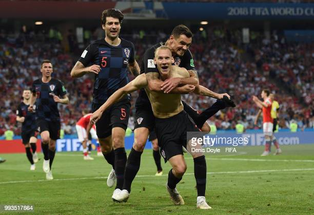 Domagoj Vida of Croatia celebrates after scoring his team's second goal in extra time during the 2018 FIFA World Cup Russia Quarter Final match...