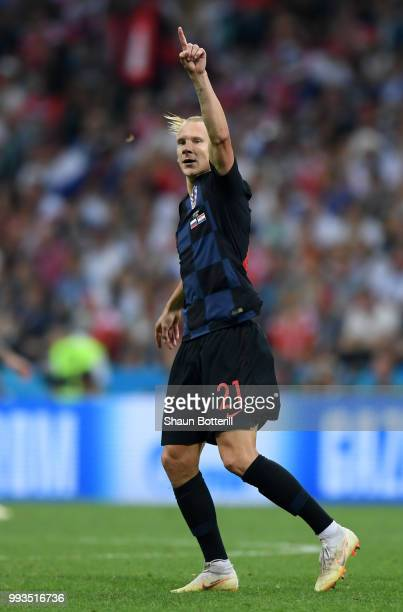 Domagoj Vida of Croatia celebrates after scoring his team's second goal during the 2018 FIFA World Cup Russia Quarter Final match between Russia and...
