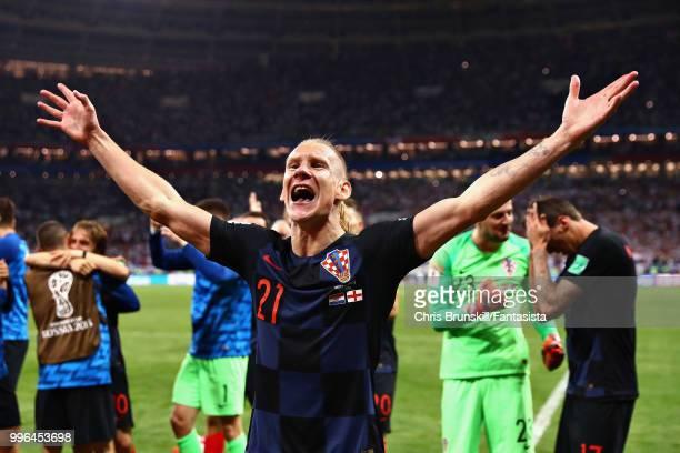 Domagoj Vida of Croatia celebrates after the 2018 FIFA World Cup Russia Semi Final match between England and Croatia at Luzhniki Stadium on July 11,...