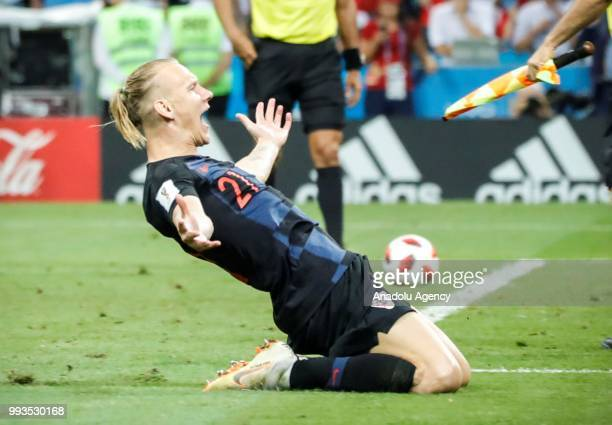 Domagoj Vida of Croatia celebrates after winning the penalty shootout of the 2018 FIFA World Cup Russia quarter final match between Russia and...