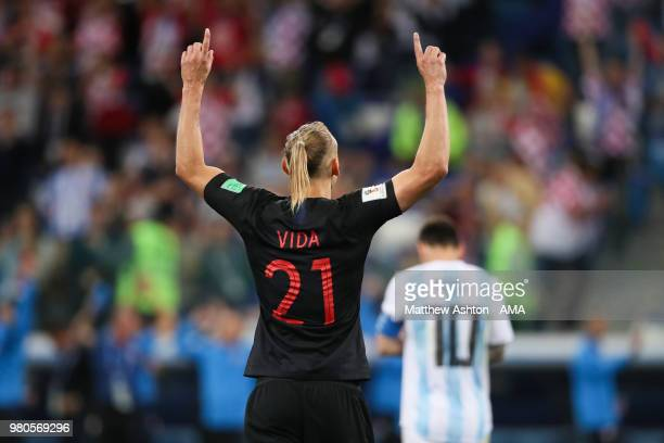 Domagoj Vida of Croatia celebrates at the end of the 2018 FIFA World Cup Russia group D match between Argentina and Croatia at Nizhny Novgorod...