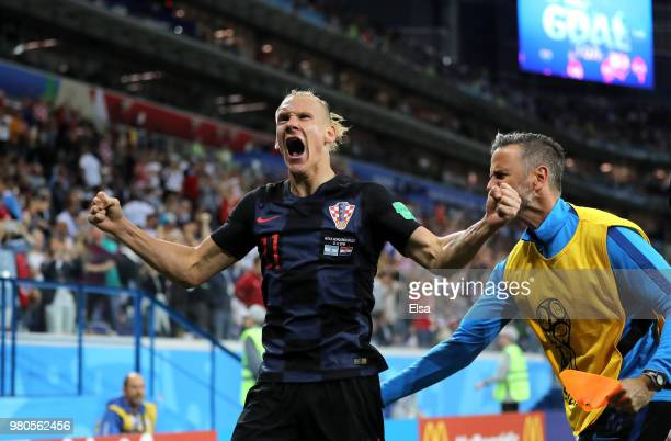 Domagoj Vida of Croatia celebrates his team's second goal during the 2018 FIFA World Cup Russia group D match between Argentina and Croatia at Nizhny...