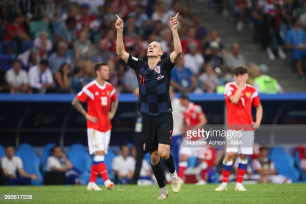 Domagoj Vida of Croatia celebrates scoring a goal to make it 12 in extra time during the 2018 FIFA World Cup Russia Quarter Final match between...