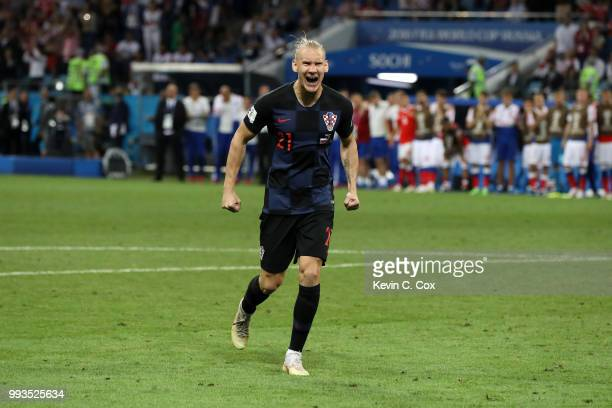 Domagoj Vida of Croatia celebrates scoring his team's fourth penalty in the penalty shoot out during the 2018 FIFA World Cup Russia Quarter Final...