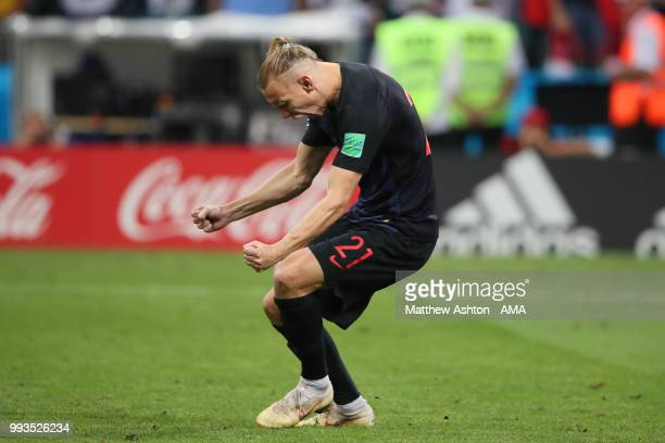 Domagoj Vida of Croatia celebrates scoring in a penalty shootout during the 2018 FIFA World Cup Russia Quarter Final match between Russia and Croatia...