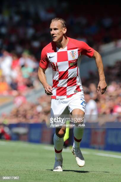 Domagoj Vida of Croatia during the International friendly match between Croatia and Brazil at Anfield on June 3 2018 in Liverpool England