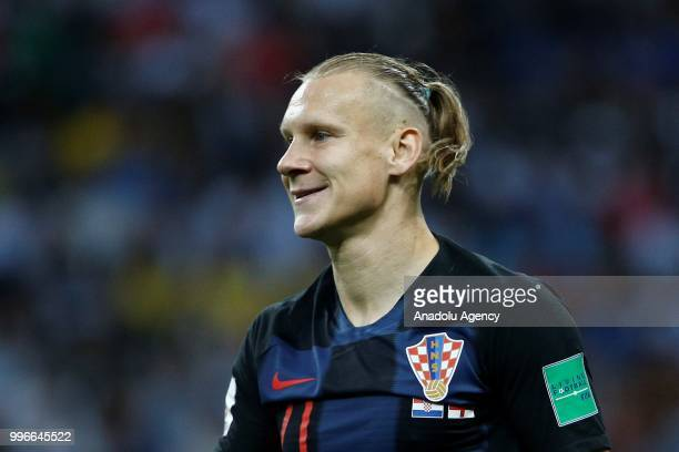 Domagoj Vida of Croatia gestures during the 2018 FIFA World Cup Russia semi final match between Croatia and England at the Luzhniki Stadium in Moscow...