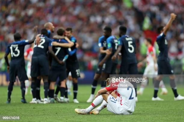 Domagoj Vida of Croatia looks dejected following his sides defeat in the 2018 FIFA World Cup Final between France and Croatia at Luzhniki Stadium on...