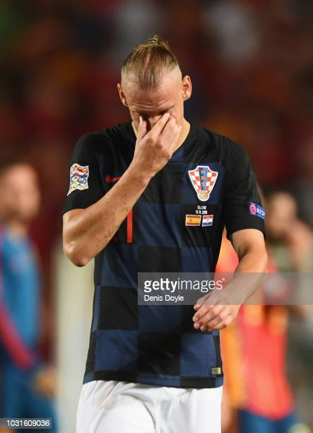 Domagoj Vida of Croatia looks dejected in defeat the UEFA Nations League A Group four match between Spain and Croatia at Estadio Manuel Martinez...